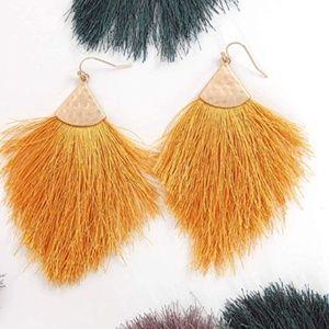 fringe feather tassel earrings